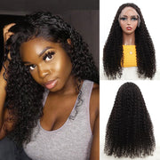 Black Kinky Curly Human Hair Lace Front Wig