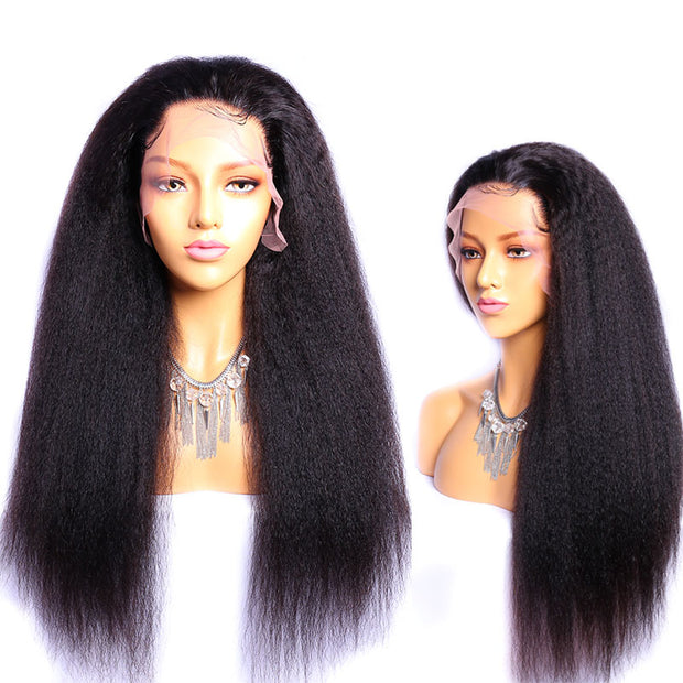 Kinky Straight Wig 13x4 Lace Front Yaki Human Hair Wig for black women