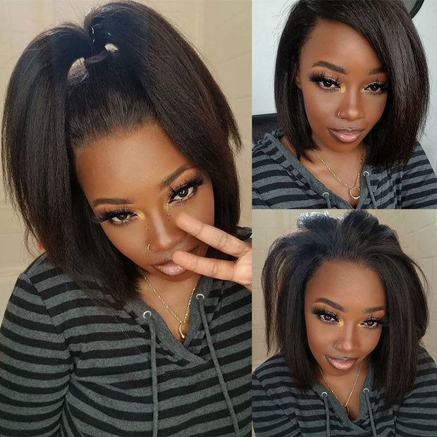 Kinky Straight Wig Bob Lace Front Wigs For Black Women