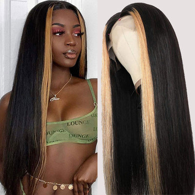 ReadyWig Black Straight Highlight Human Hair Lace Front Wig 22 Inches - Customized