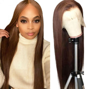 ReadyWig Brown Straight Human Hair Lace Front Wig