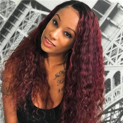 ReadyWig Burgundy Red Long Curly Human Hair Lace Front Wig