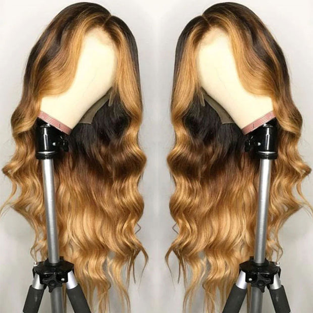Colored human remy hair lace front wig with baby hairs
