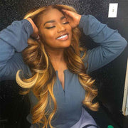Honey Blonde Ombre Color Wavy Human Hair Lace Front Wig
