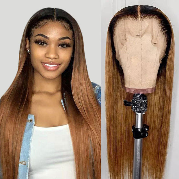 Ombre Blonde Straight Human Hair Lace Front Wig