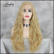Long Blonde Lace Front Wig, Body Wave Synthetic Wig, Wavy Synthetic Lace Front Wigs for Women Half Hand Tied Heat Resistant Black Lace Wig