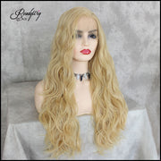 Synthetic Lace Front Wigs Blonde Long Wavy Body Wave Glueless High Temperature Fiber Deep Invisible Part Lace Wigs For Black Women