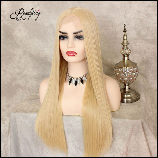 Synthetic Lace Front Wig Long Silky Straight High Temperature Heat Resistant Fiber Blonde Wigs For Women Girls