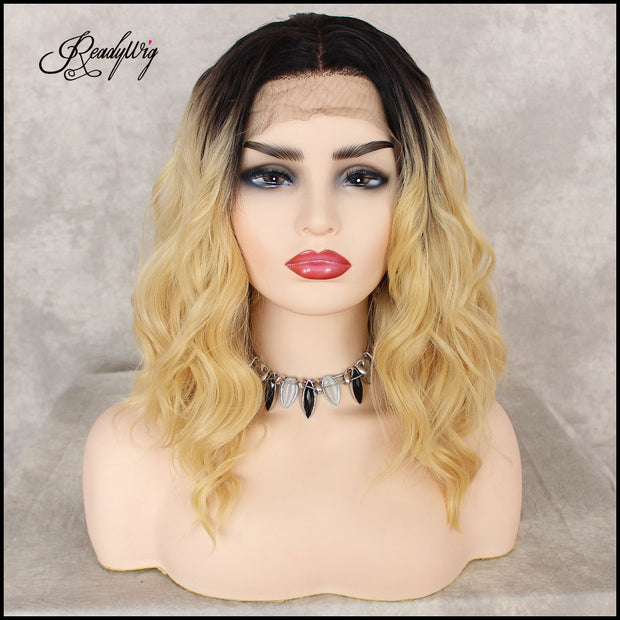 613 Blonde Lace Front Wig, Wavy Short Hair Synthetic Wigs for Women Half Hand Tied Heat Resistant Bllonde Lace Wig