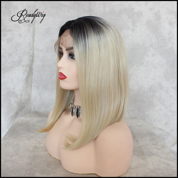 Black Root Blonde Lace Front Wigs Short Short Glueless Natural Straight Half Hand Tied Heat Resistant Synthetic Hair