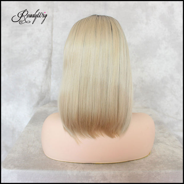 Shoulder-length Straight bob Hairstyle Synthetic Lace Front Wigs