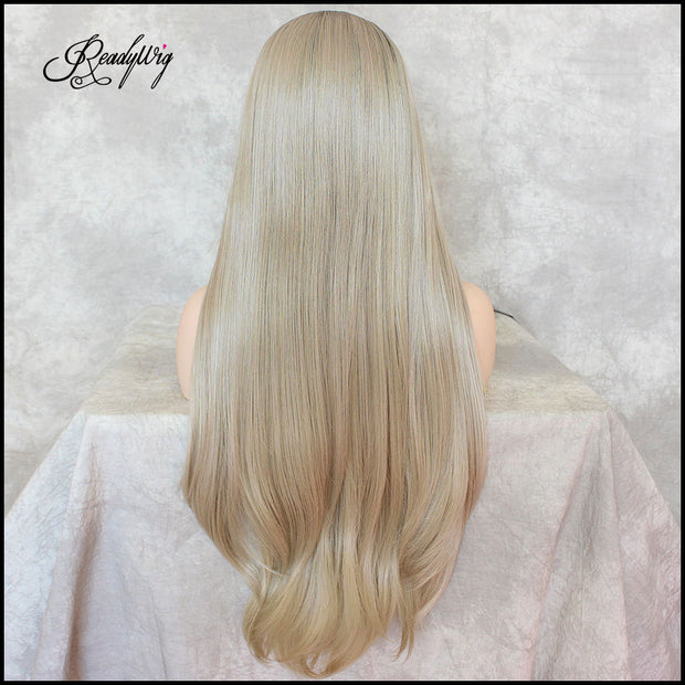 Ash Blonde Lace Front Wigs Long Natural Straight Heat Resistant Synthetic Hair Wigs for Women Half Hand Tied