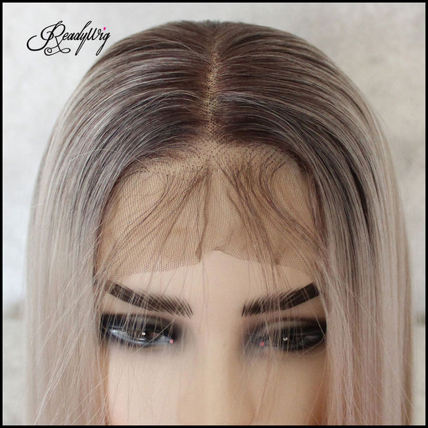 ReadyWig Ash Blonde Straight Hair 13*6 Lace Front Synthetic Wig 24 Inches