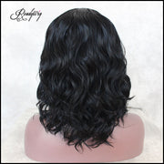 Short Wavy Lace Front Wigs 130 Density  Natural Black Color