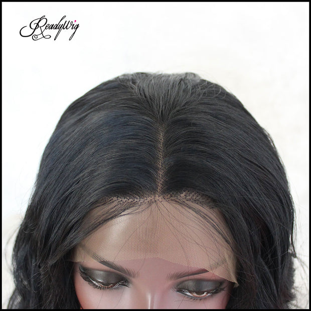 Front Lace Wigs for Black Women Loose  Deep Wave Natural Wave Shoulder Length Middle Part Heat Resistant Synthetic Fiber Half Hand Tied Wig
