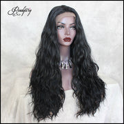 Long Black Lace Front Wig, Body Wave Synthetic Wig, Wavy Synthetic Lace Front Wigs for Women Half Hand Tied Heat Resistant Black Lace Wig