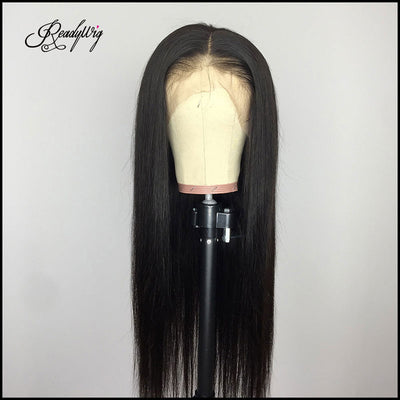 straight long silky black wig Remy human hair wig invisible lace frontal wig for black women