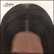 Natural Long Black Synthetic Lace Front Wig 1B# Black Silky Straight Synthetic Lace Front Wig