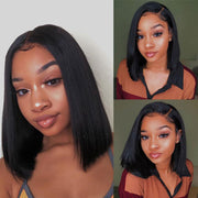 Black Straight Blunt Cut Short Human Hair Lace Wig