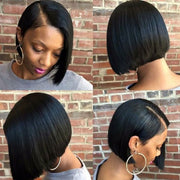 ReadyWig Black Straight Blunt Cut Short Human Hair Lace Front Wig 14 Inches  - Customized
