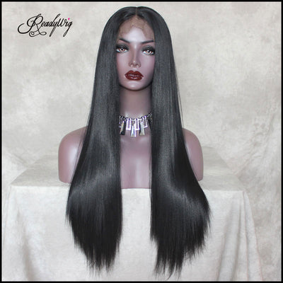 Black Lace Front Wig Natural Looking Body Wavy Free Parting Heat Resistant Lace Glueless Fiber Wig