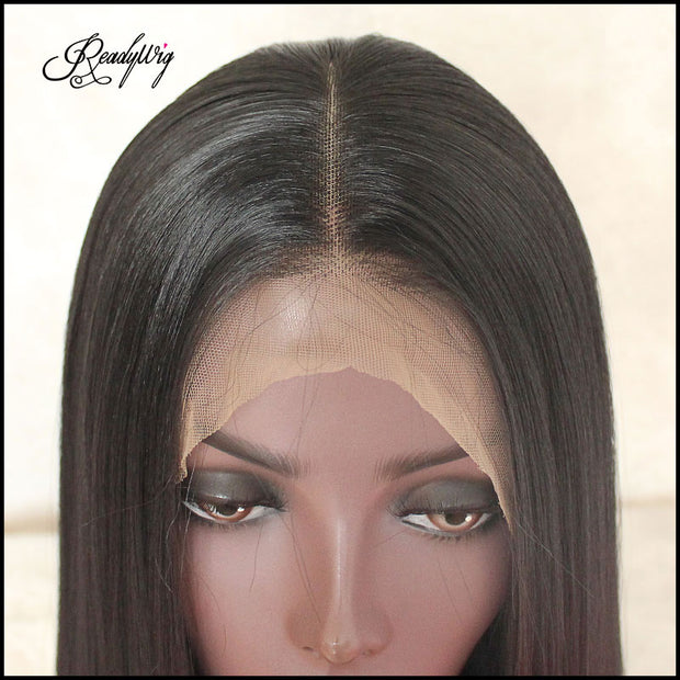 """Black Lace Front Wig Natural Looking Silky Straight  Free Parting  Heat Resistant Lace Glueless Fiber Wig"""