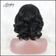 Lace Front Wigs Glueless Short Short wavye Narutal Black Color Synthetic Heat Resistant Fiber Wig