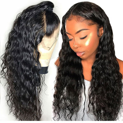 Black Wavy Human Hair Lace Front Wig