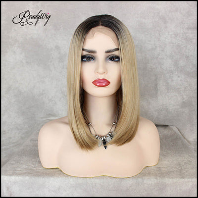 Blonde Short Dark Roots Short Hair Synthetic Lace Front Wig 16 Inches