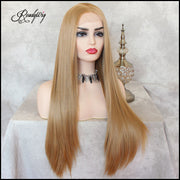 Glueless Lace Front Wig Ombre Blonde Long Straight Wig Synthetic Heat Resistant Fiber Hair Half Hand Tied Wig