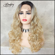 Blonde Wavy Dark Roots Synthetic Lace Front Wig