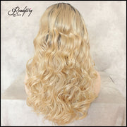 Synthetic Lace Front Wigs Blonde Ombre Black Roots Soft Heat Resistant Hair Loose Curly Wigs for Women