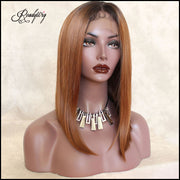 Brown Short Dark Roots Short Hair Synthetic Lace Front Wig