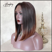Short Gradient color Straight Hair Front Lace High Temperature Wig