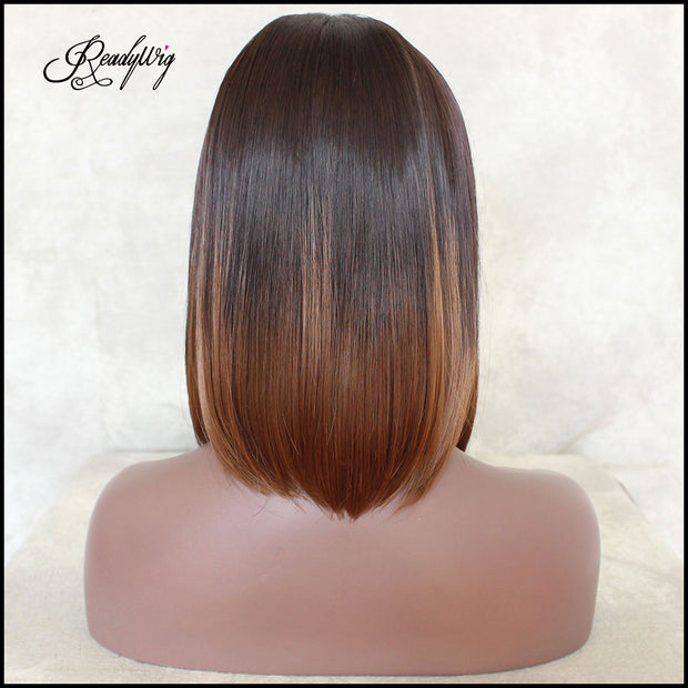 Brown Ombre Black Short Short Hair Synthetic Lace Front Wig