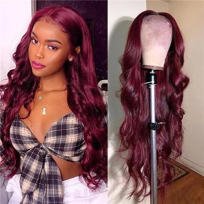 Burgundy Red Curly Human Hair Lace Front Wig