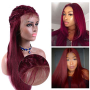 nice quality red straight long lace wigs for women