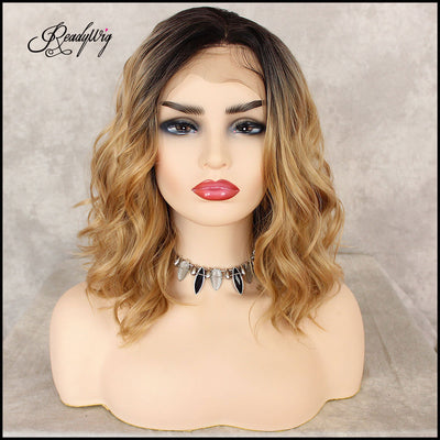Blonde Lace Front Wig, Wavy Short Hair Synthetic Lace Front Wigs for Women Half Hand Tied Heat Resistant Bllonde Lace Wig