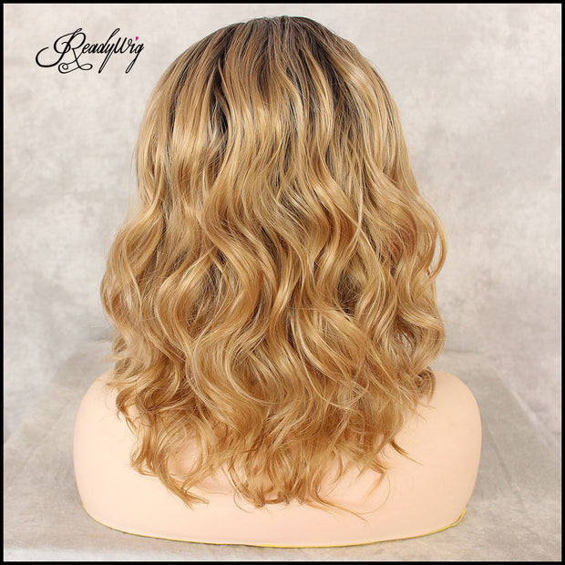 Synthetic Lace Front Wigs Blonde Short Wavy Glueless High Temperature Fiber Deep Invisible Part Lace Wigs For Black Women