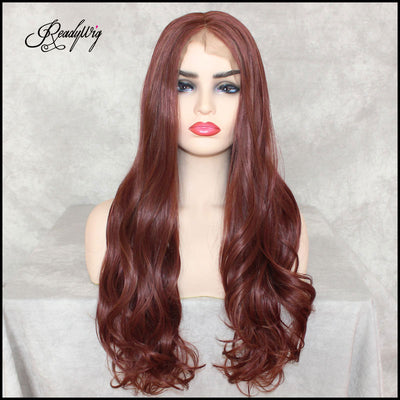 Copper Red Lace Front Wig Natural Looking Silky wavy Free Parting Heat Resistant Lace Glueless Synthetic Wig