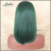 Short Short Style Straight Wig Green Synthetic Lace Front Wigs Natural Glueless Heat Resistant Fiber Cosplay Wig For Women