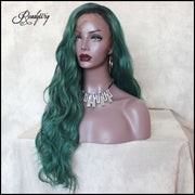 Lace Front Synthetic Wig Wavy Green long hair wig, Dark Roots Half Hand Tied Heat Friendly Full Density Wig