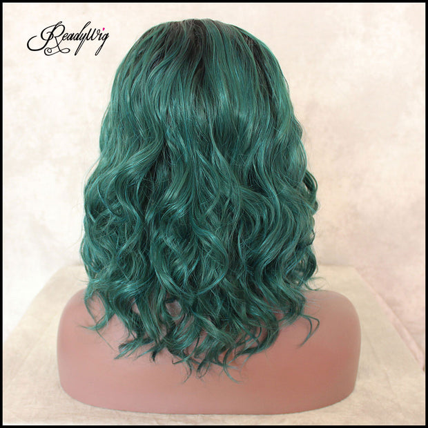 Lace Front Synthetic Wig Wavy Green Short hair wig, Dark Roots Half Hand Tied Heat Friendly Full Density Wig