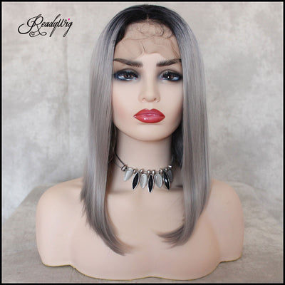 Grey Short Dark Roots Short Hair Synthetic Lace Front Wig