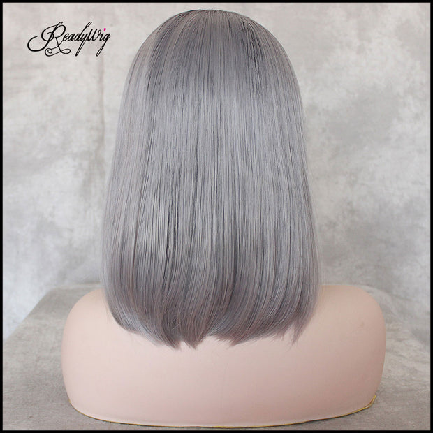 Short Gray Wig Straight Black Roots Gray Ombre Synthetic Short Lace Front Wigs for Women