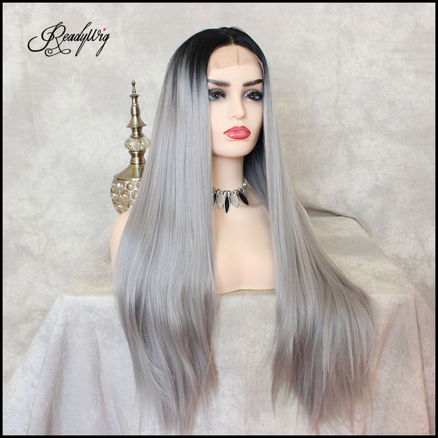 grey hair, silver hair, Synthetic Wig, Lace Front Wig