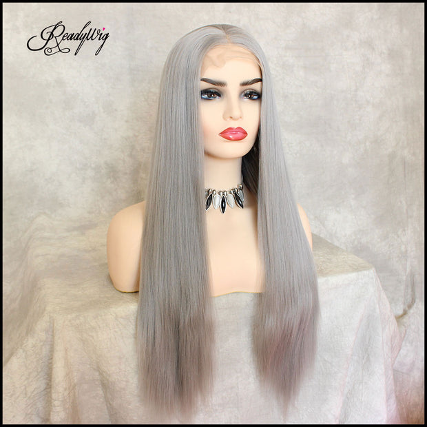 Grey Silky Straight Synthetic Lace Front Wig
