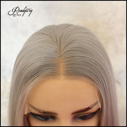 Platinum Hair ombre color straight wigs black and grey synthetic lace front straight wigs for black women