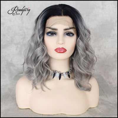 Short Gray Wig Wavy Black Roots Gray Ombre Synthetic Short Lace Front Wigs for Women