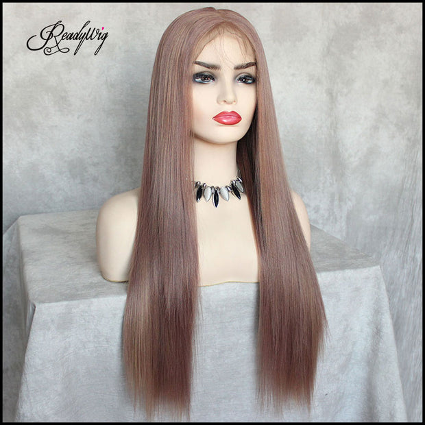 long brown lace wig with pre-plucked hairline